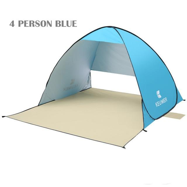 Pop Up Open Tent Uv-Protect Gazebo Waterproof Quick Open Shade Canopy-Tents-WIDESEA outdoor store-blue 4PERSON-Bargain Bait Box