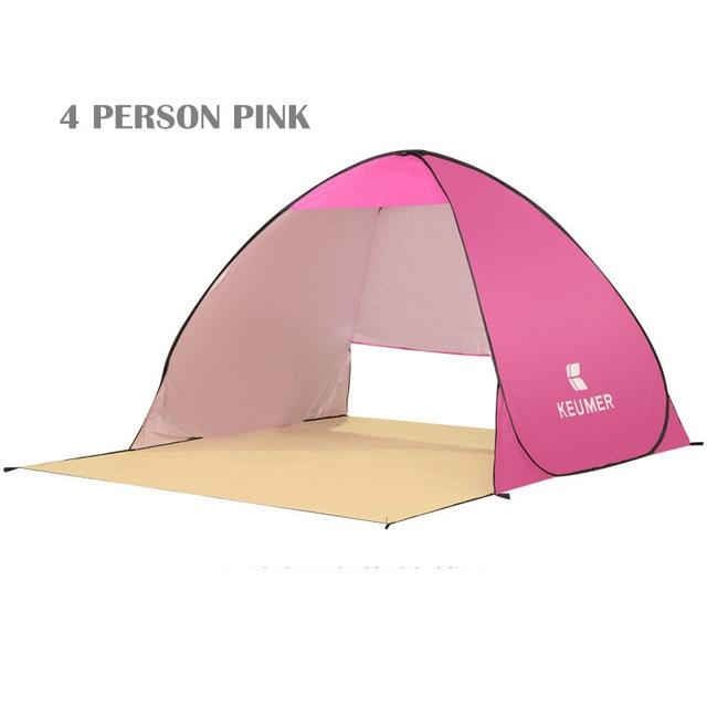Pop Up Open Tent Uv-Protect Gazebo Waterproof Quick Open Shade Canopy-Tents-WIDESEA outdoor store-pink 4PERSON-Bargain Bait Box