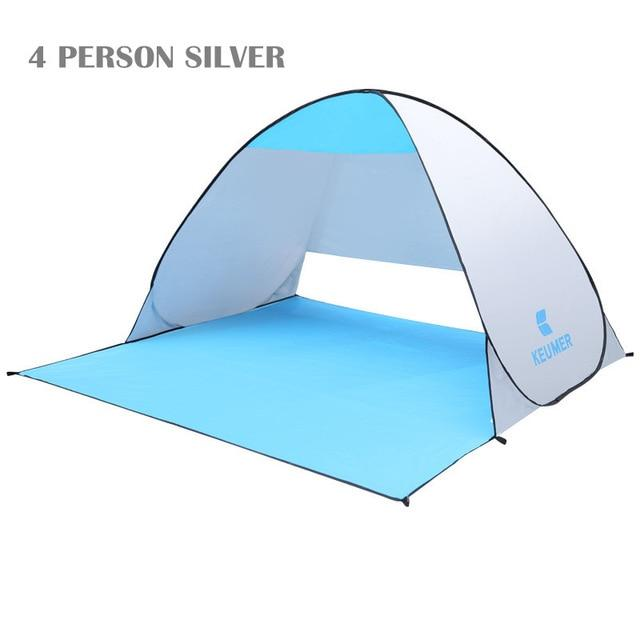 Pop Up Open Tent Uv-Protect Gazebo Waterproof Quick Open Shade Canopy-Tents-WIDESEA outdoor store-silver 4PERSON-Bargain Bait Box