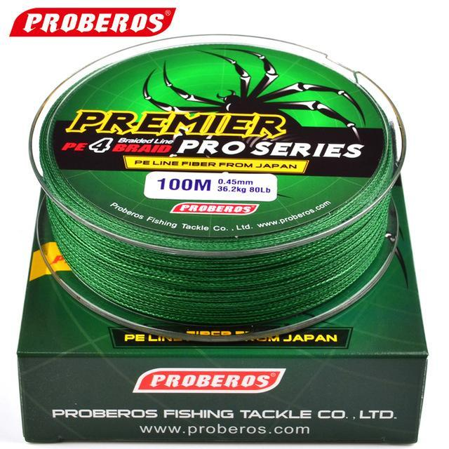 Pro Beros 100M Fishing Lines Pe Braid 4 Stands 6Lbs To 80Lb Multifilament-Monka Outdoor Store-Green-0.4-Bargain Bait Box