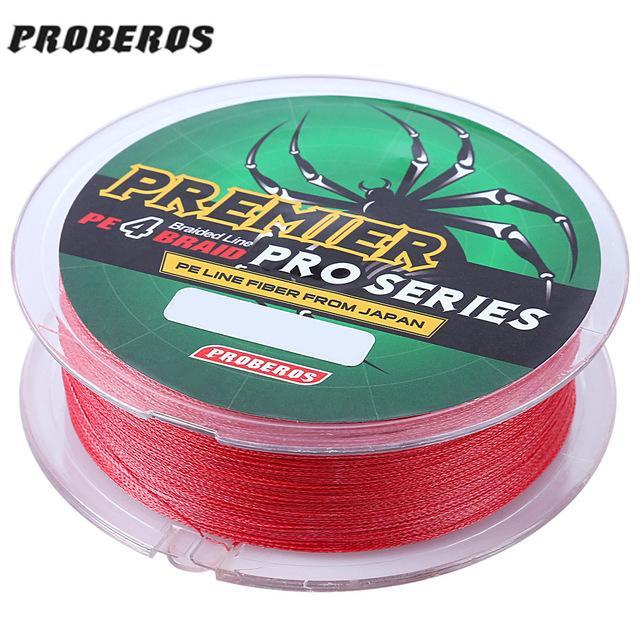Pro Beros 100M Fishing Lines Pe Braid 4 Stands 6Lbs To 80Lb Multifilament-Monka Outdoor Store-Red-0.4-Bargain Bait Box