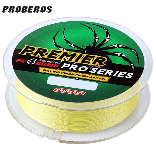 Pro Beros 100M Fishing Lines Pe Braid 4 Stands 6Lbs To 80Lb Multifilament-Monka Outdoor Store-Yellow-0.4-Bargain Bait Box