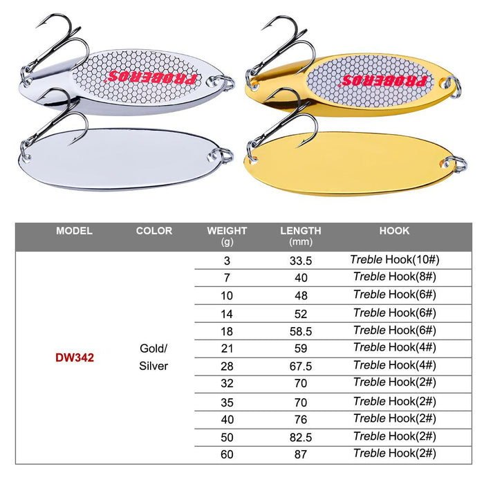 Pro Beros Top Metal Spoon Lure 3G-40G Metal Bass Baits Silver/Gold Spoon Fishing-Fishing Lures-PRO BEROS Official Store-Silver 3G-Bargain Bait Box