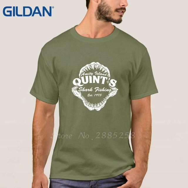 Quints Fishinger Shark Jaws Birthday For Dad Him Fathers Day Shirts Mens Black-Shirts-Bargain Bait Box-Army Green-S-Bargain Bait Box