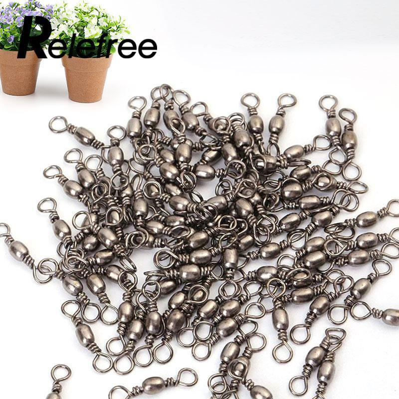 Relefree 100Pcs Barrel Swivel Solid Rings Fishing Connector #8 #12-Sevener Store-12-Bargain Bait Box