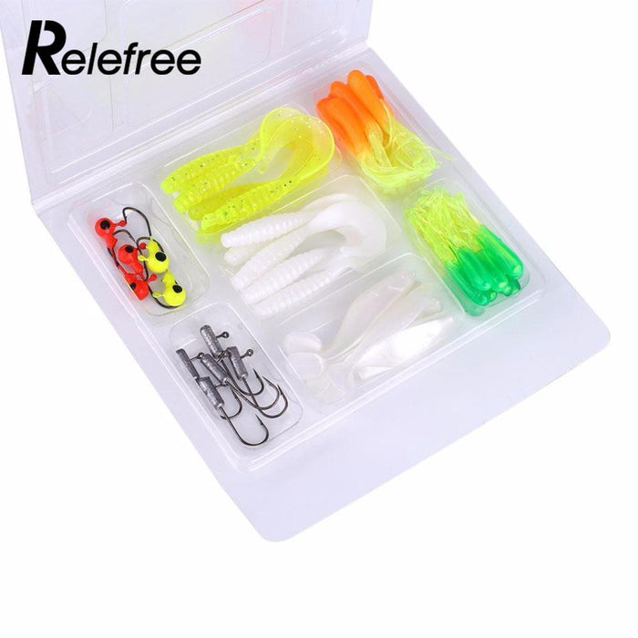 Relefree 35Pcs Soft Worm Set With 10 Lead Head Jig Hooks Suite Soft Fishing-Jig Kits-Bargain Bait Box-Bargain Bait Box