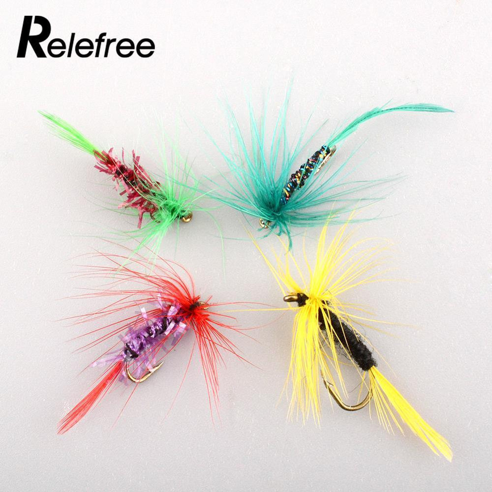 Relefree 4Pcs Various Dry Fly Hooks Tool Fishing Trout Salmon Flies Fish Hook-Flies-Bargain Bait Box-Bargain Bait Box