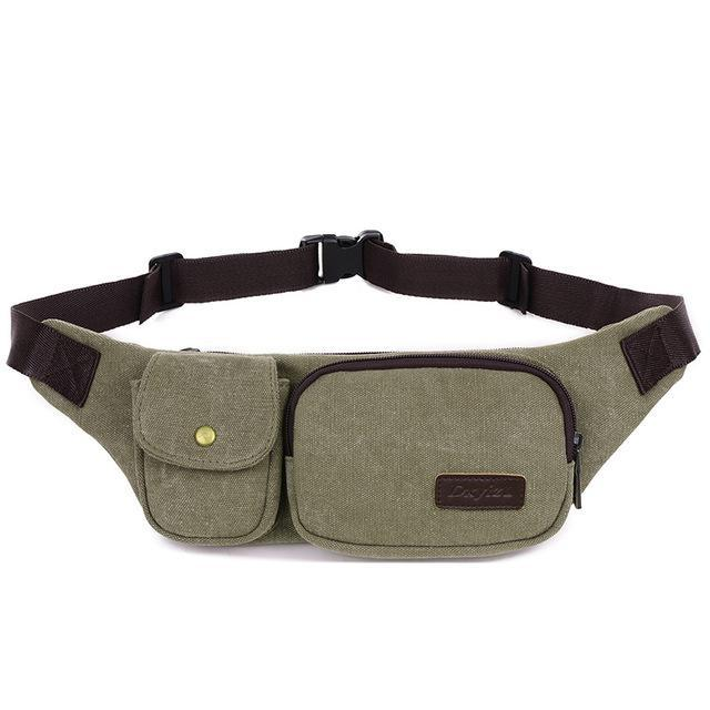 Retro Men Waist Bag For Men Women Fanny Canvas Chest Pack Money Belt Ling-Bags-Bargain Bait Box-army green-Bargain Bait Box