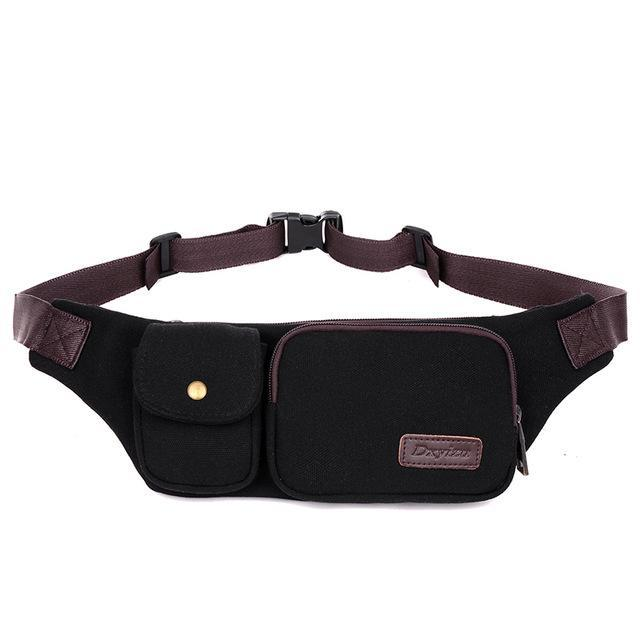 Retro Men Waist Bag For Men Women Fanny Canvas Chest Pack Money Belt Ling-Bags-Bargain Bait Box-black-Bargain Bait Box
