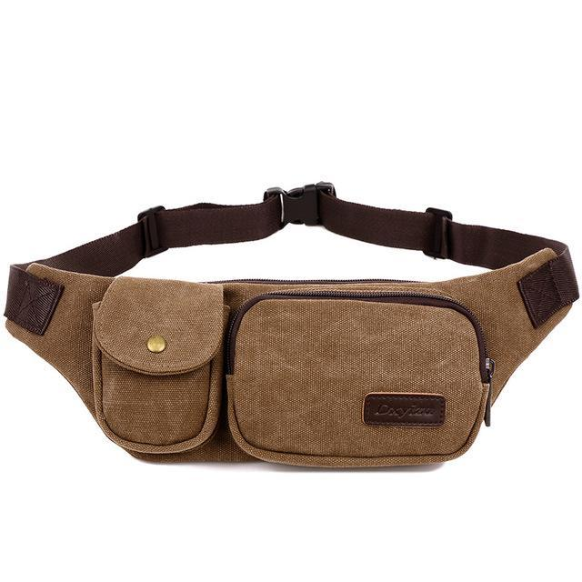 Retro Men Waist Bag For Men Women Fanny Canvas Chest Pack Money Belt Ling-Bags-Bargain Bait Box-coffee-Bargain Bait Box