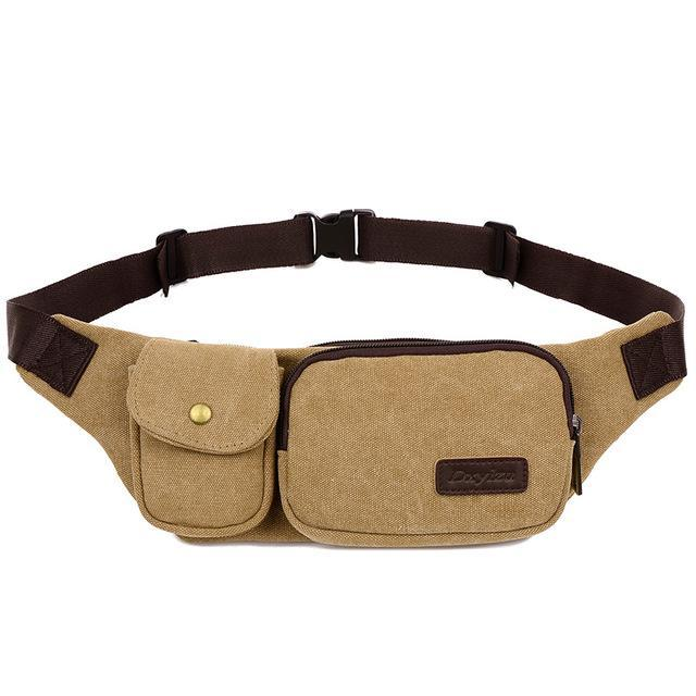 Retro Men Waist Bag For Men Women Fanny Canvas Chest Pack Money Belt Ling-Bags-Bargain Bait Box-khaki-Bargain Bait Box