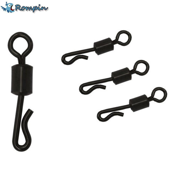 Rompin 20Pcs/Lot Large Long Body Q-Shaped Black Color Quick Change Swivels For-Rompin Fishing Tackle Store-Bargain Bait Box