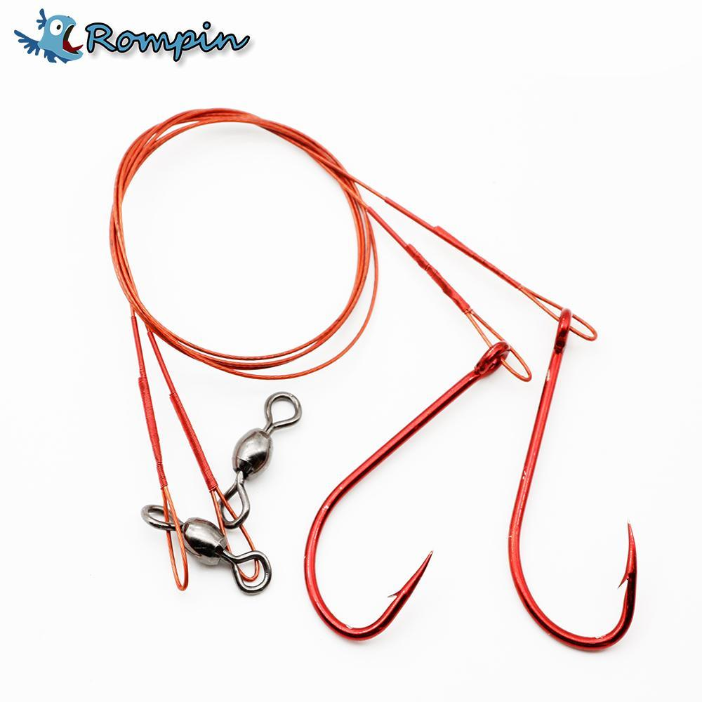 Rompin 2Pcs/Bag Fishing Red Wire Leader 45Lb 3/0 With Red 5/0 Hook Nylon-Rompin Fishing Tackle Store-Bargain Bait Box