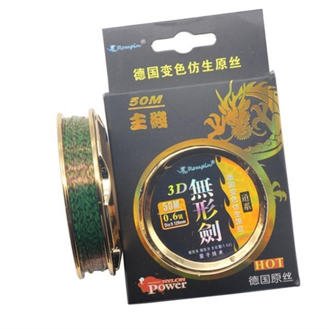Rompin 50M Nylon Fishing Line Strong Fluorocarbon Monofilament Rock Sea For-rompin Official Store-green speckle-0.4-Bargain Bait Box