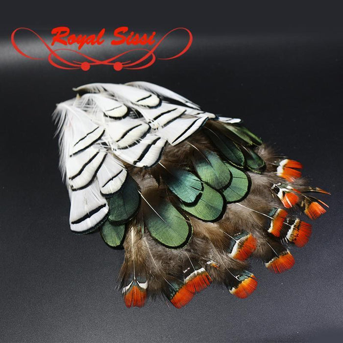 Royal Sissi 60Pcs Natural Lady Amherst'S Pheasant Head Crest &Hackle Body-Fly Tying Materials-Bargain Bait Box-Bargain Bait Box
