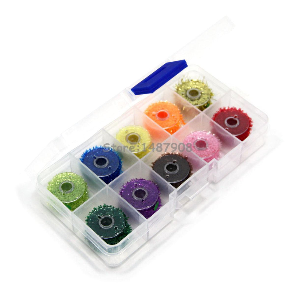 Sams Box Of 10 Spools Fly Fishing Tinsel Chenille Ice Cactus Crystal Flash-Fly Tying Materials-Bargain Bait Box-Bargain Bait Box