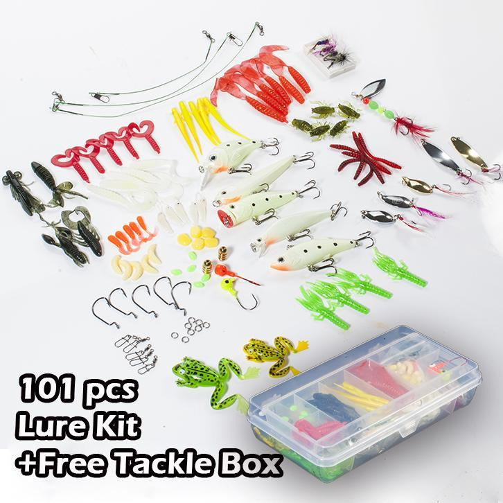 Sean 101 Pcs Kit Box Soft Glow Minnow Frog Grub Hook Connector Clip Jig Head-Soft Bait Kits-Bargain Bait Box-Bargain Bait Box