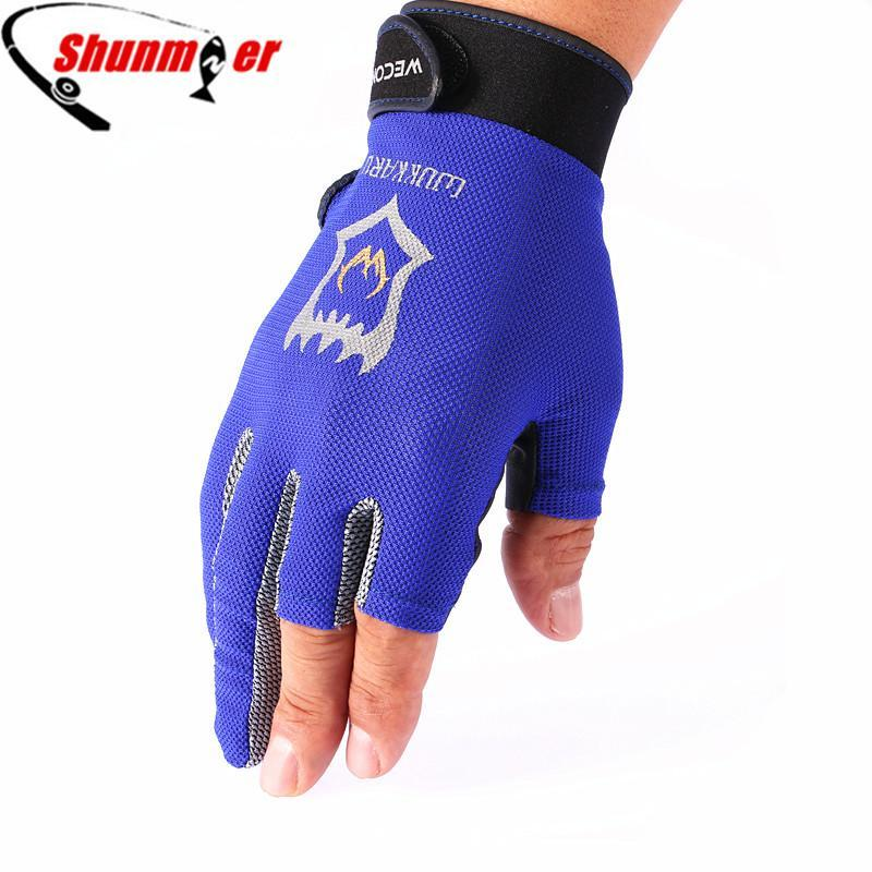 Shunmier 3 Half Finger Durable Anti-Slip Breathable Pu Sport Gloves Fishing-Gloves-Bargain Bait Box-Black-L-Bargain Bait Box