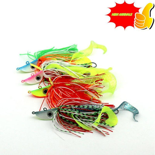 Silicone Bait Big Game Squid 4Pc 23G Jig Fishing Squid Jigs Head Octopus Hook-Bass Jigs-Bargain Bait Box-Bargain Bait Box