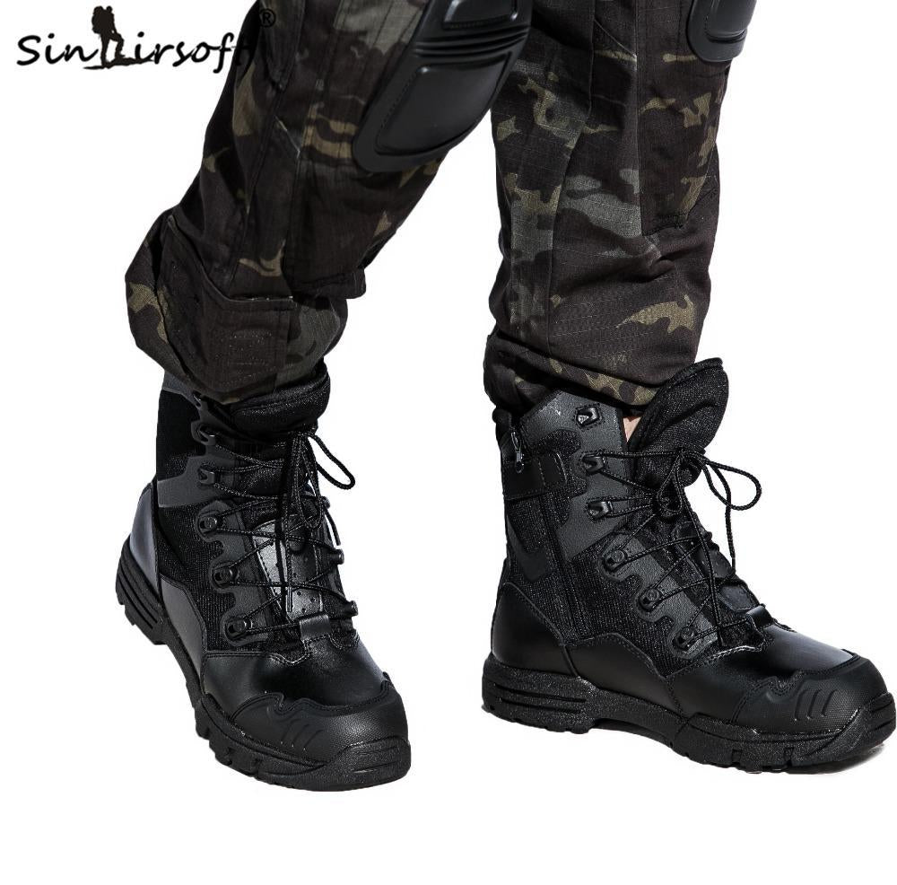 Sinairsoft Genuine Leather U.S. Military Assault Tactical Boots Breathable-Boots-Bargain Bait Box-Black-8-Bargain Bait Box