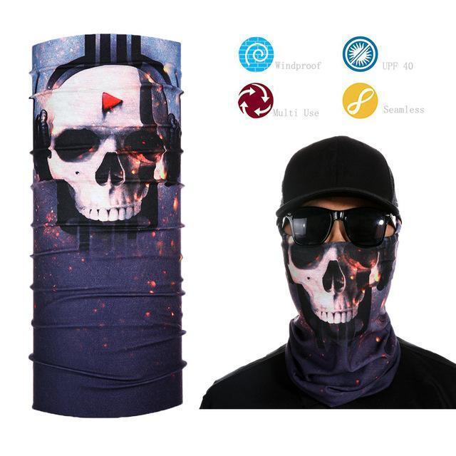 Skull Face Shield Bandana Upf 40 Sunscreen Balaclava Magic Scarf Bicycle Mask-Face Shields-Bargain Bait Box-Army Green-Bargain Bait Box