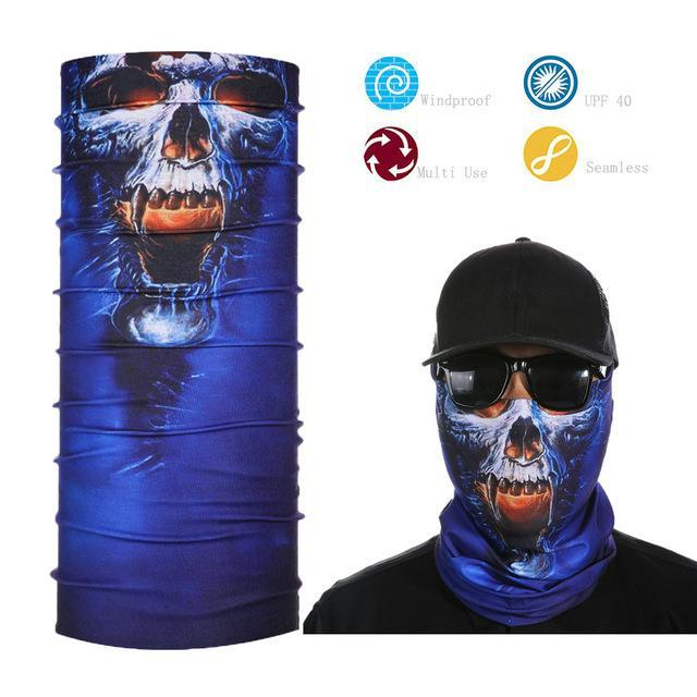 Skull Face Shield Bandana Upf 40 Sunscreen Balaclava Magic Scarf Bicycle Mask-Face Shields-Bargain Bait Box-Black-Bargain Bait Box