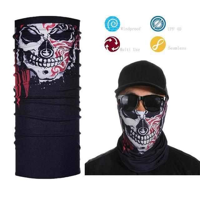 Skull Face Shield Bandana Upf 40 Sunscreen Balaclava Magic Scarf Bicycle Mask-Face Shields-Bargain Bait Box-Blue-Bargain Bait Box