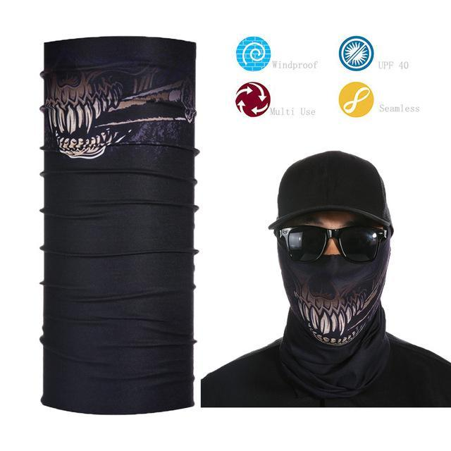 Skull Face Shield Bandana Upf 40 Sunscreen Balaclava Magic Scarf Bicycle Mask-Face Shields-Bargain Bait Box-Brown-Bargain Bait Box