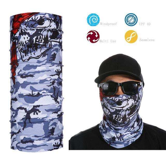 Skull Face Shield Bandana Upf 40 Sunscreen Balaclava Magic Scarf Bicycle Mask-Face Shields-Bargain Bait Box-Burgundy-Bargain Bait Box