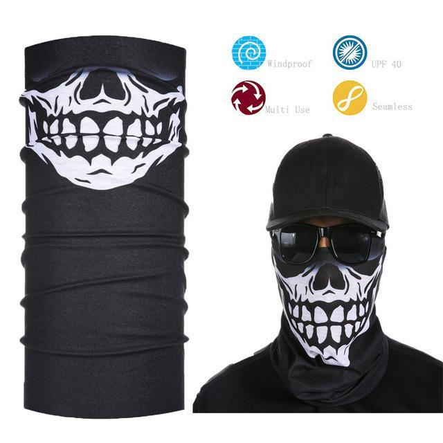 Skull Face Shield Bandana Upf 40 Sunscreen Balaclava Magic Scarf Bicycle Mask-Face Shields-Bargain Bait Box-Clear-Bargain Bait Box