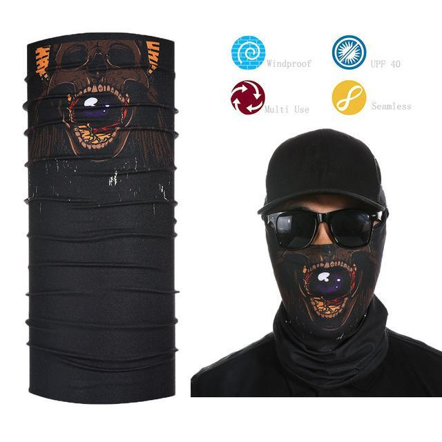 Skull Face Shield Bandana Upf 40 Sunscreen Balaclava Magic Scarf Bicycle Mask-Face Shields-Bargain Bait Box-Dark Grey-Bargain Bait Box