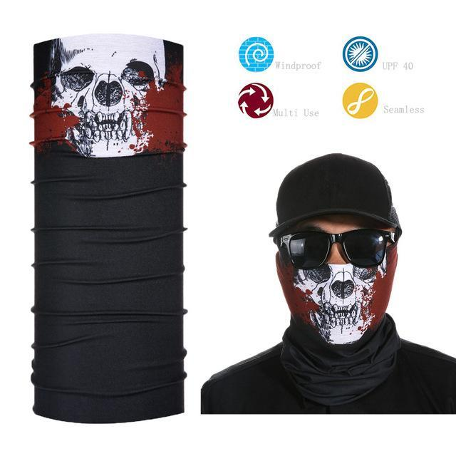 Skull Face Shield Bandana Upf 40 Sunscreen Balaclava Magic Scarf Bicycle Mask-Face Shields-Bargain Bait Box-Gold-Bargain Bait Box
