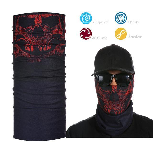 Skull Face Shield Bandana Upf 40 Sunscreen Balaclava Magic Scarf Bicycle Mask-Face Shields-Bargain Bait Box-Gray-Bargain Bait Box