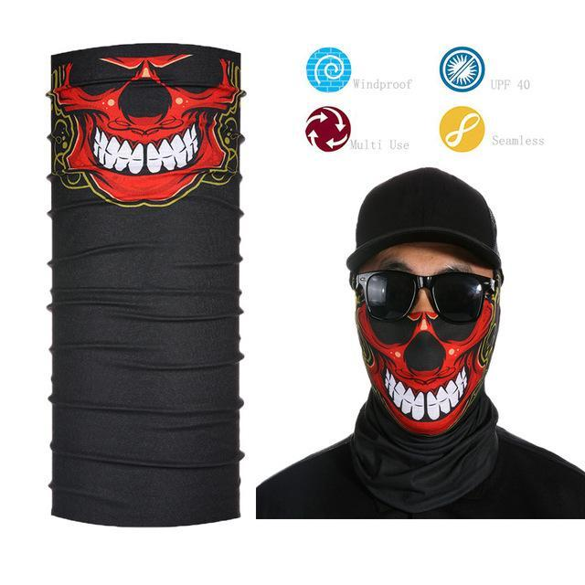 Skull Face Shield Bandana Upf 40 Sunscreen Balaclava Magic Scarf Bicycle Mask-Face Shields-Bargain Bait Box-Green-Bargain Bait Box