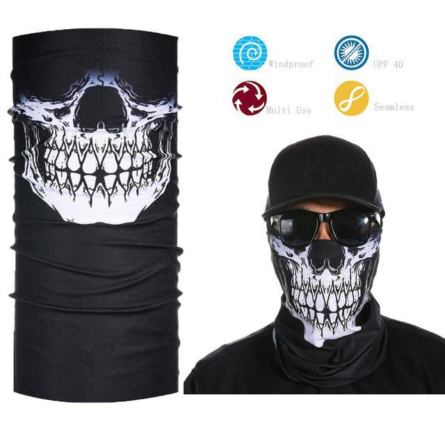 Skull Face Shield Bandana Upf 40 Sunscreen Balaclava Magic Scarf Bicycle Mask-Face Shields-Bargain Bait Box-Light Grey-Bargain Bait Box
