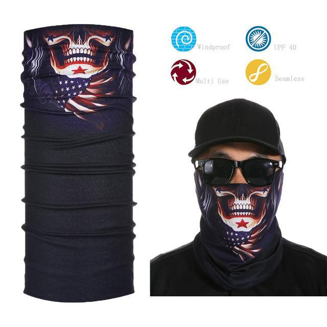 Skull Face Shield Bandana Upf 40 Sunscreen Balaclava Magic Scarf Bicycle Mask-Face Shields-Bargain Bait Box-Orange-Bargain Bait Box