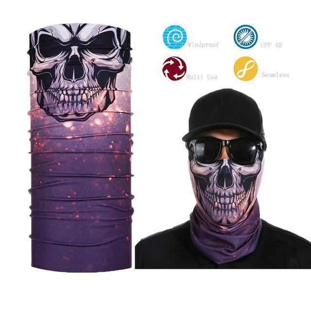 Skull Face Shield Bandana Upf 40 Sunscreen Balaclava Magic Scarf Bicycle Mask-Face Shields-Bargain Bait Box-Red-Bargain Bait Box