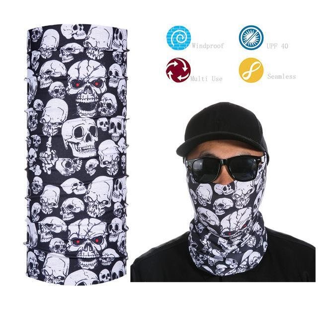 Skull Face Shield Bandana Upf 40 Sunscreen Balaclava Magic Scarf Bicycle Mask-Face Shields-Bargain Bait Box-Rose Red-Bargain Bait Box