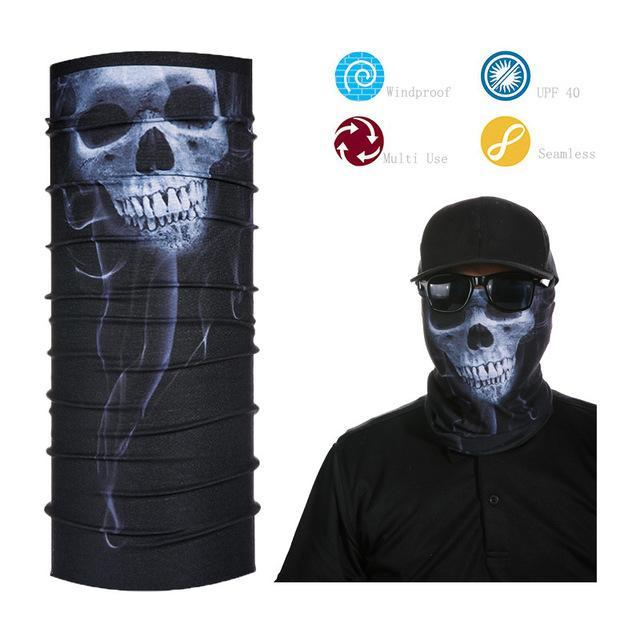 Skull Face Shield Bandana Upf 40 Sunscreen Balaclava Magic Scarf Bicycle Mask-Face Shields-Bargain Bait Box-Silver-Bargain Bait Box