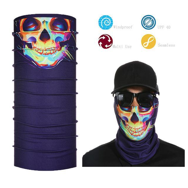Skull Face Shield Bandana Upf 40 Sunscreen Balaclava Magic Scarf Bicycle Mask-Face Shields-Bargain Bait Box-White-Bargain Bait Box