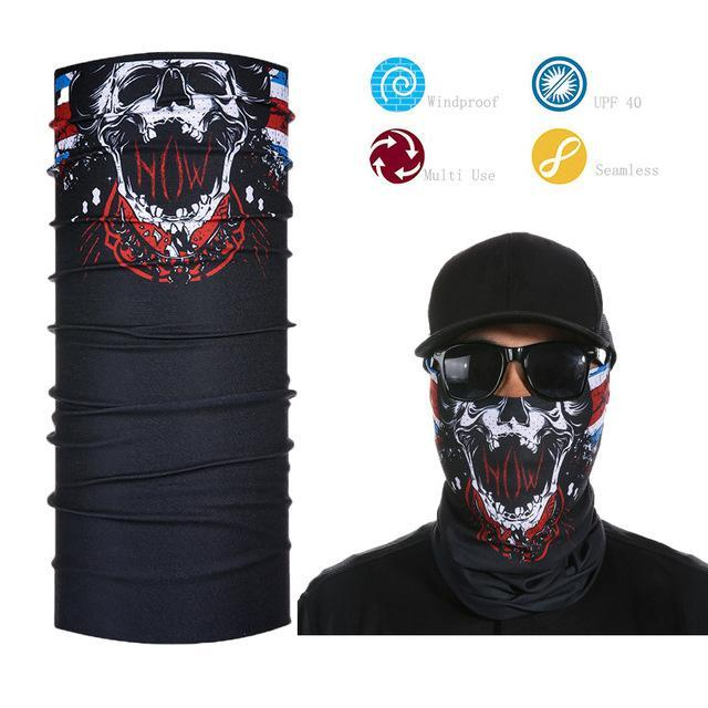 Skull Face Shield Bandana Upf 40 Sunscreen Balaclava Magic Scarf Bicycle Mask-Face Shields-Bargain Bait Box-Yellow-Bargain Bait Box