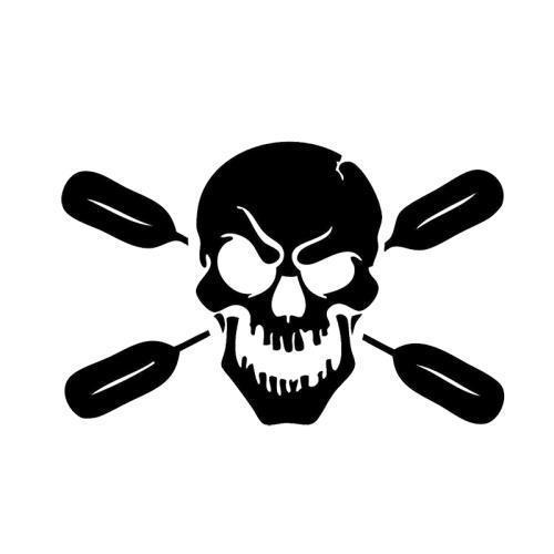 Skull With Oars Paddle Vinyl Decal Car Stickers Kayak Fishing Car Body Truck-Fishing Decals-Bargain Bait Box-Black-Bargain Bait Box