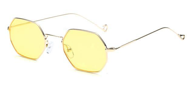 Small Frame Retro Sun Glasses For Men Brand Design Polygon Sunglasses Women-Sunglasses-runbird Official Store-Gold Frame Yellow-Bargain Bait Box