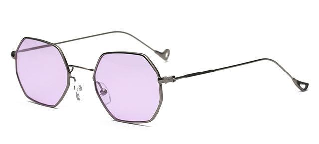Small Frame Retro Sun Glasses For Men Brand Design Polygon Sunglasses Women-Sunglasses-runbird Official Store-Gun Frame Purple-Bargain Bait Box