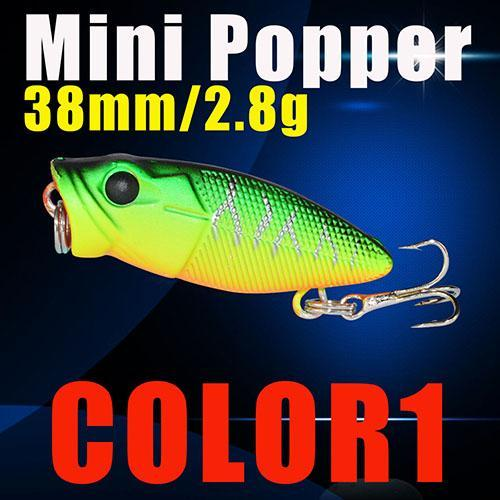 Small Popper Hard Bait 38Mm 2.8G 3D Eyes Plastic Bait S Tackle Poper Fishing-Top Water Baits-Bargain Bait Box-Color1-Bargain Bait Box