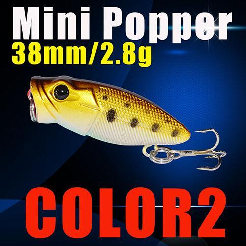 Small Popper Hard Bait 38Mm 2.8G 3D Eyes Plastic Bait S Tackle Poper Fishing-Top Water Baits-Bargain Bait Box-Color2-Bargain Bait Box