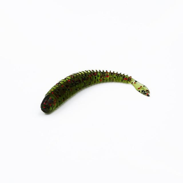 Soft Fishing Lures Split Tail Sandworms 5.8Cm 1G 10Pcs Swimbait Soft Bait Shad-ProFishing Store-Green Red Sparkle-Bargain Bait Box