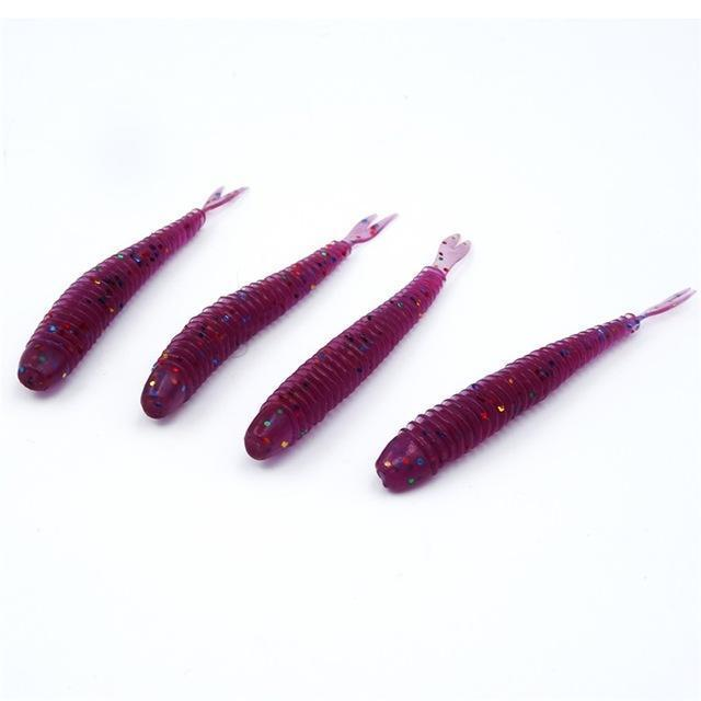 Soft Fishing Lures Split Tail Sandworms 5.8Cm 1G 10Pcs Swimbait Soft Bait Shad-ProFishing Store-Multi Sparkle-Bargain Bait Box