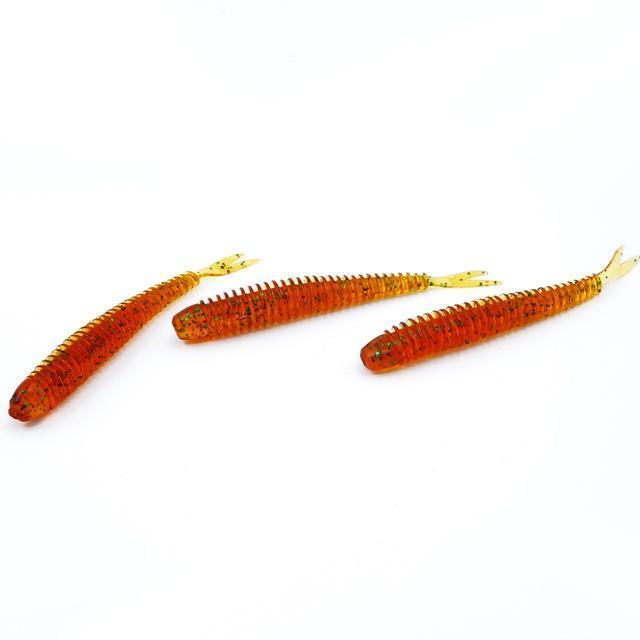 Soft Fishing Lures Split Tail Sandworms 5.8Cm 1G 10Pcs Swimbait Soft Bait Shad-ProFishing Store-Red Green Sparkles-Bargain Bait Box