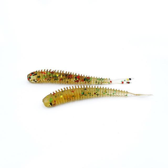 Soft Fishing Lures Split Tail Sandworms 5.8Cm 1G 10Pcs Swimbait Soft Bait Shad-ProFishing Store-Sand-Bargain Bait Box